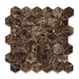 "Emperador Dark Marble Polished 2"" Hexagon Mosaic Tile - American Tile Depot - Commercial and Residential (Interior & Exterior), Indoor, Outdoor, Shower, Backsplash, Bathroom, Kitchen, Deck & Patio, Decorative, Floor, Wall, Ceiling, Powder Room - 1"