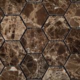 "Emperador Dark Marble Polished 2"" Hexagon Mosaic Tile - American Tile Depot - Commercial and Residential (Interior & Exterior), Indoor, Outdoor, Shower, Backsplash, Bathroom, Kitchen, Deck & Patio, Decorative, Floor, Wall, Ceiling, Powder Room - 2"