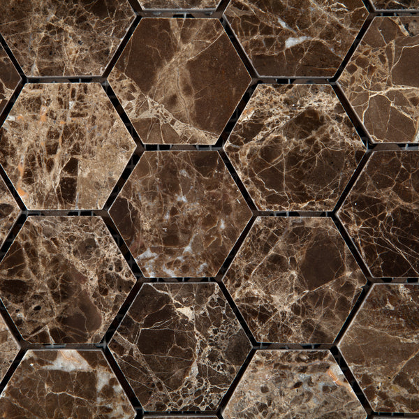 Emperador Dark Marble 2 Hexagon Mosaic Tile Polished