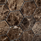 "Emperador Dark Marble Polished 2"" Hexagon Mosaic Tile - American Tile Depot - Commercial and Residential (Interior & Exterior), Indoor, Outdoor, Shower, Backsplash, Bathroom, Kitchen, Deck & Patio, Decorative, Floor, Wall, Ceiling, Powder Room - 3"