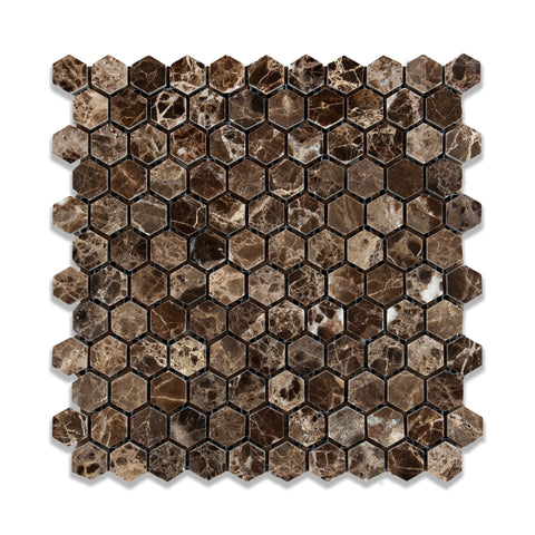 "Emperador Dark Marble Polished 1"" Mini Hexagon Mosaic Tile - American Tile Depot - Commercial and Residential (Interior & Exterior), Indoor, Outdoor, Shower, Backsplash, Bathroom, Kitchen, Deck & Patio, Decorative, Floor, Wall, Ceiling, Powder Room - 1"