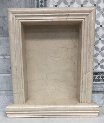 Crema Marfil Marble Hand-Made Custom Shampoo Niche / Shelf - LARGE - Polished