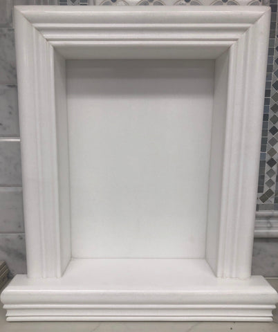 Thassos White Marble Hand-Made Custom Shampoo Niche / Shelf - LARGE - Honed