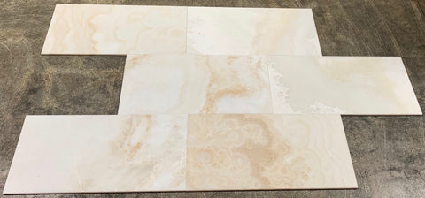 12 X 24 Premium White Onyx CROSS-CUT Polished Field Tile