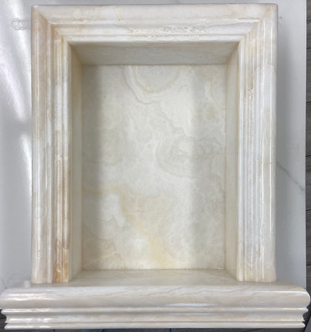 White Onyx CROSS-CUT-Hand Made Custom Shampoo Niche / Shelf - LARGE - Polished