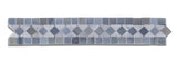 Carrara White Marble Polished BIAS Border Listello w/ Blue-Gray Dots - American Tile Depot - Commercial and Residential (Interior & Exterior), Indoor, Outdoor, Shower, Backsplash, Bathroom, Kitchen, Deck & Patio, Decorative, Floor, Wall, Ceiling, Powder Room - 1