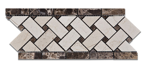 Crema Marfil Marble Polished Basketweave Border Listello w/ Emperador Dark Dots - American Tile Depot - Commercial and Residential (Interior & Exterior), Indoor, Outdoor, Shower, Backsplash, Bathroom, Kitchen, Deck & Patio, Decorative, Floor, Wall, Ceiling, Powder Room - 1