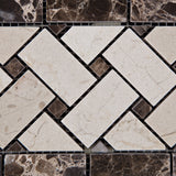 Crema Marfil Marble Honed Basketweave Border Listello w/ Emperador Dark Dots - American Tile Depot - Commercial and Residential (Interior & Exterior), Indoor, Outdoor, Shower, Backsplash, Bathroom, Kitchen, Deck & Patio, Decorative, Floor, Wall, Ceiling, Powder Room - 2