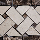 Crema Marfil Marble Honed Basketweave Border Listello w/ Emperador Dark Dots - American Tile Depot - Commercial and Residential (Interior & Exterior), Indoor, Outdoor, Shower, Backsplash, Bathroom, Kitchen, Deck & Patio, Decorative, Floor, Wall, Ceiling, Powder Room - 3