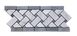 Carrara White Marble Polished Basketweave Border Listello w/ Blue-Gray Dots - American Tile Depot - Commercial and Residential (Interior & Exterior), Indoor, Outdoor, Shower, Backsplash, Bathroom, Kitchen, Deck & Patio, Decorative, Floor, Wall, Ceiling, Powder Room - 1
