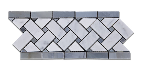 Carrara White Marble Honed Basketweave Border Listello w/ Blue-Gray Dots - American Tile Depot - Commercial and Residential (Interior & Exterior), Indoor, Outdoor, Shower, Backsplash, Bathroom, Kitchen, Deck & Patio, Decorative, Floor, Wall, Ceiling, Powder Room - 1