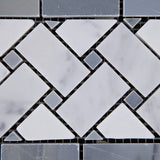 Carrara White Marble Polished Basketweave Border Listello w/ Blue-Gray Dots - American Tile Depot - Commercial and Residential (Interior & Exterior), Indoor, Outdoor, Shower, Backsplash, Bathroom, Kitchen, Deck & Patio, Decorative, Floor, Wall, Ceiling, Powder Room - 2