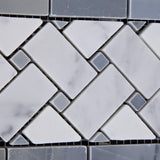 Carrara White Marble Polished Basketweave Border Listello w/ Blue-Gray Dots - American Tile Depot - Commercial and Residential (Interior & Exterior), Indoor, Outdoor, Shower, Backsplash, Bathroom, Kitchen, Deck & Patio, Decorative, Floor, Wall, Ceiling, Powder Room - 3