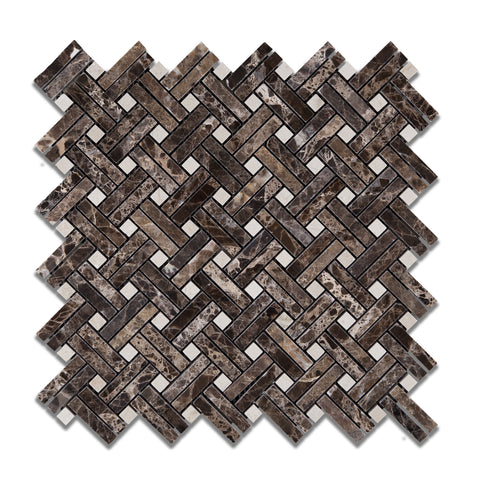 Emperador Dark Marble Polished Stanza Basketweave Mosaic Tile w/ Crema Marfil Dots - American Tile Depot - Commercial and Residential (Interior & Exterior), Indoor, Outdoor, Shower, Backsplash, Bathroom, Kitchen, Deck & Patio, Decorative, Floor, Wall, Ceiling, Powder Room - 1
