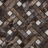 Emperador Dark Marble Polished Stanza Basketweave Mosaic Tile w/ Crema Marfil Dots - American Tile Depot - Commercial and Residential (Interior & Exterior), Indoor, Outdoor, Shower, Backsplash, Bathroom, Kitchen, Deck & Patio, Decorative, Floor, Wall, Ceiling, Powder Room - 2