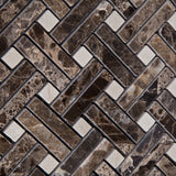 Emperador Dark Marble Polished Stanza Basketweave Mosaic Tile w/ Crema Marfil Dots - American Tile Depot - Commercial and Residential (Interior & Exterior), Indoor, Outdoor, Shower, Backsplash, Bathroom, Kitchen, Deck & Patio, Decorative, Floor, Wall, Ceiling, Powder Room - 3