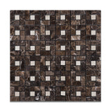 Emperador Dark Marble Polished Pinwheel Mosaic Tile w/ Crema Marfil Dots - American Tile Depot - Commercial and Residential (Interior & Exterior), Indoor, Outdoor, Shower, Backsplash, Bathroom, Kitchen, Deck & Patio, Decorative, Floor, Wall, Ceiling, Powder Room - 1