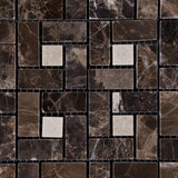 Emperador Dark Marble Polished Pinwheel Mosaic Tile w/ Crema Marfil Dots - American Tile Depot - Commercial and Residential (Interior & Exterior), Indoor, Outdoor, Shower, Backsplash, Bathroom, Kitchen, Deck & Patio, Decorative, Floor, Wall, Ceiling, Powder Room - 2