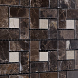 Emperador Dark Marble Polished Pinwheel Mosaic Tile w/ Crema Marfil Dots - American Tile Depot - Commercial and Residential (Interior & Exterior), Indoor, Outdoor, Shower, Backsplash, Bathroom, Kitchen, Deck & Patio, Decorative, Floor, Wall, Ceiling, Powder Room - 3