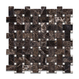 Emperador Dark Marble Polished Basketweave Mosaic Tile w/ Crema Marfil Dots - American Tile Depot - Commercial and Residential (Interior & Exterior), Indoor, Outdoor, Shower, Backsplash, Bathroom, Kitchen, Deck & Patio, Decorative, Floor, Wall, Ceiling, Powder Room - 1