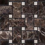 Emperador Dark Marble Polished Basketweave Mosaic Tile w/ Crema Marfil Dots - American Tile Depot - Commercial and Residential (Interior & Exterior), Indoor, Outdoor, Shower, Backsplash, Bathroom, Kitchen, Deck & Patio, Decorative, Floor, Wall, Ceiling, Powder Room - 2