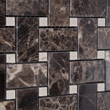 Emperador Dark Marble Polished Basketweave Mosaic Tile w/ Crema Marfil Dots - American Tile Depot - Commercial and Residential (Interior & Exterior), Indoor, Outdoor, Shower, Backsplash, Bathroom, Kitchen, Deck & Patio, Decorative, Floor, Wall, Ceiling, Powder Room - 3