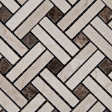 Crema Marfil Marble Polished Stanza Basketweave Mosaic Tile w/ Emperador Dark Dots - American Tile Depot - Commercial and Residential (Interior & Exterior), Indoor, Outdoor, Shower, Backsplash, Bathroom, Kitchen, Deck & Patio, Decorative, Floor, Wall, Ceiling, Powder Room - 2