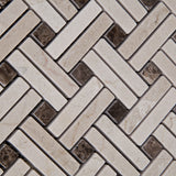 Crema Marfil Marble Polished Stanza Basketweave Mosaic Tile w/ Emperador Dark Dots - American Tile Depot - Commercial and Residential (Interior & Exterior), Indoor, Outdoor, Shower, Backsplash, Bathroom, Kitchen, Deck & Patio, Decorative, Floor, Wall, Ceiling, Powder Room - 3