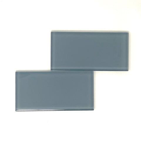 3 X 6 Ocean Blue Glass Subway Tile - Rainbow Series