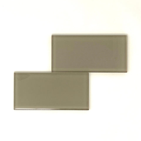 3 X 6 Taupe Glass Subway Tile - Rainbow Series