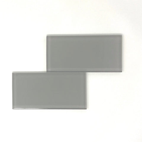 3 X 6 Mist Gray Glass Subway Tile - Rainbow Series