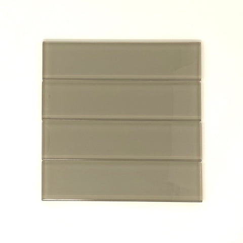 2 x 8 Taupe Glass Subway Tile - Rainbow Series