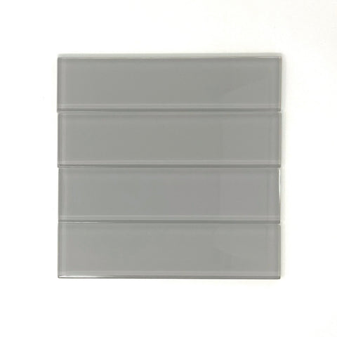 2 x 8 Mist Gray Glass Subway Tile - Rainbow Series
