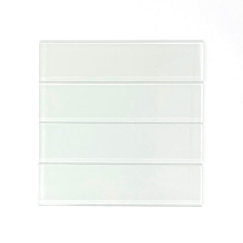 2 x 8 White Glass Subway Tile -  Rainbow Series