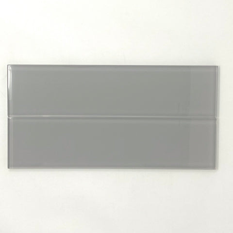3 X 12 Mist Gray Glass Subway Tile - Rainbow Series