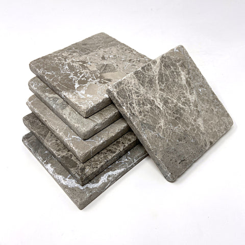 Atlantic Gray Marble Handmade Coasters