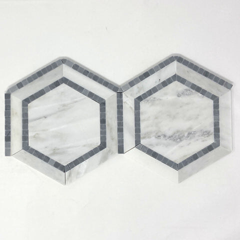 "Oriental White / Asian Statuary Marble Polished 5"" Hexagon Combination Mosaic Tile w / Blue"