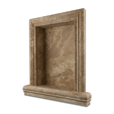 Walnut Travertine Hand-Made Custom Shampoo Niche / Shelf - LARGE - Honed - American Tile Depot - Commercial and Residential (Interior & Exterior), Indoor, Outdoor, Shower, Backsplash, Bathroom, Kitchen, Deck & Patio, Decorative, Floor, Wall, Ceiling, Powder Room - 1