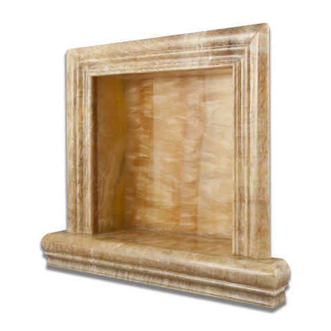 Honey Onyx Hand-Made Custom Shampoo Niche / Shelf - SMALL - Polished - American Tile Depot - Commercial and Residential (Interior & Exterior), Indoor, Outdoor, Shower, Backsplash, Bathroom, Kitchen, Deck & Patio, Decorative, Floor, Wall, Ceiling, Powder Room - 1