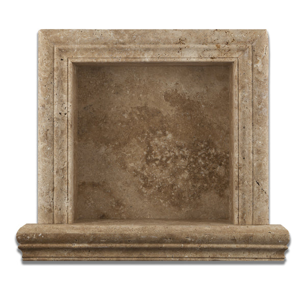 Walnut Travertine Hand Made Custom Shampoo Niche Shelf