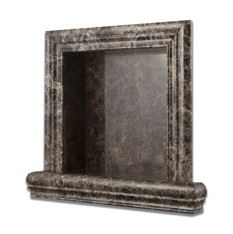 Emperador Dark Marble Hand-Made Custom Shampoo Niche / Shelf - SMALL - Polished - American Tile Depot - Commercial and Residential (Interior & Exterior), Indoor, Outdoor, Shower, Backsplash, Bathroom, Kitchen, Deck & Patio, Decorative, Floor, Wall, Ceiling, Powder Room - 1