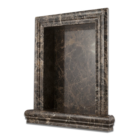 Emperador Dark Marble Hand-Made Custom Shampoo Niche / Shelf - LARGE - Polished - American Tile Depot - Commercial and Residential (Interior & Exterior), Indoor, Outdoor, Shower, Backsplash, Bathroom, Kitchen, Deck & Patio, Decorative, Floor, Wall, Ceiling, Powder Room - 1