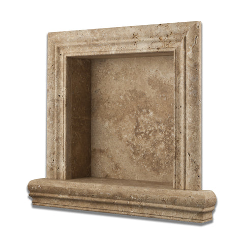 Walnut Travertine Hand-Made Custom Shampoo Niche / Shelf - SMALL - Honed - American Tile Depot - Commercial and Residential (Interior & Exterior), Indoor, Outdoor, Shower, Backsplash, Bathroom, Kitchen, Deck & Patio, Decorative, Floor, Wall, Ceiling, Powder Room - 1