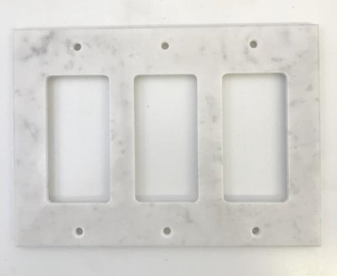 Italian Carrara White Marble Triple Rocker Switch Wall Plate / Switch Plate / Cover - Polished