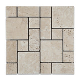 Ivory Travertine 3-Pieced Mini-Pattern Tumbled Mosaic Tile - American Tile Depot - Commercial and Residential (Interior & Exterior), Indoor, Outdoor, Shower, Backsplash, Bathroom, Kitchen, Deck & Patio, Decorative, Floor, Wall, Ceiling, Powder Room - 1