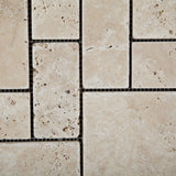 Ivory Travertine 3-Pieced Mini-Pattern Tumbled Mosaic Tile - American Tile Depot - Commercial and Residential (Interior & Exterior), Indoor, Outdoor, Shower, Backsplash, Bathroom, Kitchen, Deck & Patio, Decorative, Floor, Wall, Ceiling, Powder Room - 3