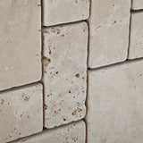 Ivory Travertine 3-Pieced Mini-Pattern Tumbled Mosaic Tile - American Tile Depot - Commercial and Residential (Interior & Exterior), Indoor, Outdoor, Shower, Backsplash, Bathroom, Kitchen, Deck & Patio, Decorative, Floor, Wall, Ceiling, Powder Room - 2