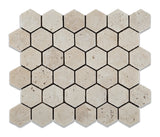 Ivory Travertine Tumbled 2'' Hexagon Mosaic Tile - American Tile Depot - Commercial and Residential (Interior & Exterior), Indoor, Outdoor, Shower, Backsplash, Bathroom, Kitchen, Deck & Patio, Decorative, Floor, Wall, Ceiling, Powder Room - 1