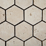 Ivory Travertine Tumbled 2'' Hexagon Mosaic Tile - American Tile Depot - Commercial and Residential (Interior & Exterior), Indoor, Outdoor, Shower, Backsplash, Bathroom, Kitchen, Deck & Patio, Decorative, Floor, Wall, Ceiling, Powder Room - 2