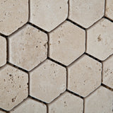 Ivory Travertine Tumbled 2'' Hexagon Mosaic Tile - American Tile Depot - Commercial and Residential (Interior & Exterior), Indoor, Outdoor, Shower, Backsplash, Bathroom, Kitchen, Deck & Patio, Decorative, Floor, Wall, Ceiling, Powder Room - 3
